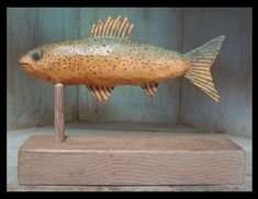Fins are created out of tin. Woodcarving, Folk Art, Tin, Pets, Animals, Animales, Popular Art, Animaux, Wood Carvings