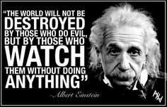 """""""The world will not be destroyed by those who do evil, but by those watch them without doing anything"""" (Albert Einstein)"""