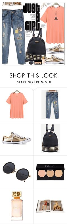 """""""Romwe"""" by oshint ❤ liked on Polyvore featuring Converse and Tory Burch"""