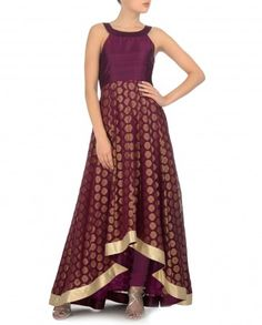 Plum Anarkali Kurta Set with Asymmetric Hem - Exclusively In Anarkalis - Designers