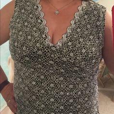 Beautiful sleeveless Top Creamy overlay over full black lining. Dressbarn. Near new condition. Dress Barn Tops Blouses