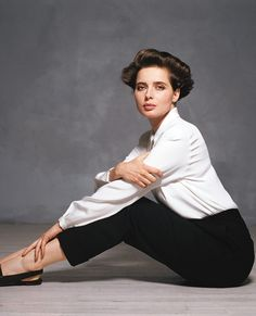 Iconic Fashion: 27 Memorable White Shirts Through the Decades - Isabella Rossellini, 1990 from InStyle.com