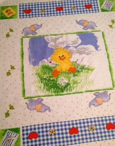 LITTLE SUZY'S ZOO Fabric - Witzy Duck Quilt Blanket Wall Hanging Panel - Rare Retired htf