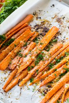 Parmesan Roasted Carrots are roasted in the oven with butter and garlic until tender and sprinkled with lots of freshly grated Parmesan cheese. Aren't they gorgeous! They'd go great with pork or chi Night Dinner Recipes, Romantic Dinner Recipes, Vegetarian Recipes Dinner, Romantic Dinners, Romantic Picnics, Vegetable Recipes, Side Dish Recipes, Side Dishes, Dining