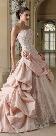 Dont know how I feel about a pink wedding dress . I like traditional dress but its beautiful.