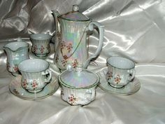 Breathtaking Chodziez PorcelainLustreware Vintage Coffee Set Poland 11 Pieces Striking Color