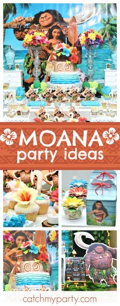Don't miss this tropical Moana birthday party! The birthday cake and cupcakes are so pretty!! See more party ideas and share yours at CatchMyParty.com