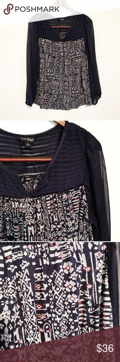 Lucky Brand Navy Bohemian Print Split Neck Blouse So cute! Navy yoke and sleeves with a neat print. Gently used. 💙 Lucky Brand Tops Blouses