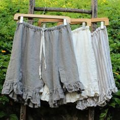 "Linen shorts ""Little Linen Bloomers"" by megbydesign on Etsy $145 for 3 pair."