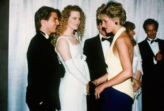 "July 1992 Princess Diana meeting actors, Tom Cruise & Nicole Kidman at the premiere of ""Far and Away"" at the Leicester Square Empire Cinema in London. Royal Princess, Princess Of Wales, Infp, Cinemas In London, Manolo Garcia, Diana Williams, Diana Fashion, Princess Margaret, Lady Diana Spencer"