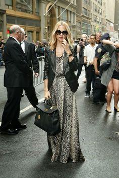 Look Vestido Longo + Jaqueta de Couro   Looks Inspiração