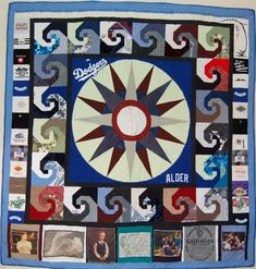 Bereavement quilt for mother of a surfer son, made entirely from his clothes. Center is his christening outfit.