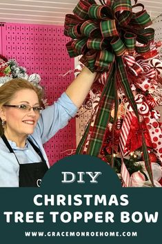 How to Make a Christmas Tree Topper Bow | Grace Monroe Home Diy Christmas Tree Topper, Diy Tree Topper, Slim Christmas Tree, Outside Christmas Decorations, Pallet Christmas Tree, Ribbon On Christmas Tree, Burlap Christmas, Christmas Bows, Christmas Parties
