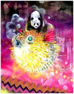 "Panda Art - Panda Riding a Blowfish - ""Good Juju"" by Black Ink Art - http://blkink.bigcartel.com/product/good-juju"