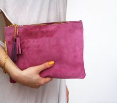 PURPUR/ Natural leather clutch with chain wrist by DDSLLGirlsStore, $60.00