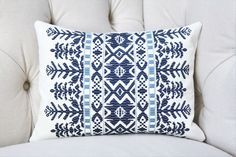 Designer Embroidered Blue and Off White Aztec Pillow Cover - Navy Blue and Carolina Blue Home Decor - Lumbar 12x16 or 12x18 by MotifPillows on Etsy https://www.etsy.com/listing/472175062/designer-embroidered-blue-and-off-white