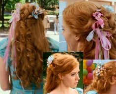 Disney Cosplay Now I have to search for the flowers and the ribbons! The FUN part! Enchanted Movie, Giselle Enchanted, Disney Enchanted, Disney Hairstyles, Cute Hairstyles, Wedding Hairstyles, Natural Hairstyles, Robes Country, Hair Dos