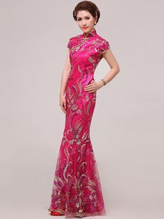 Fuchsia Fishtail Cheongsam / Qipao / Chinese Wedding / Prom Dress