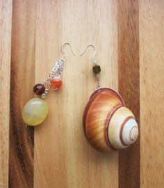 """"""" The Odd Couple Earrings """" Shell , agate , glass , crystal & silver ."""