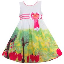 New Girls Dress Green Tree Flower Print Bow Party Christmas Baby Kids Clothing Size 2-8T(China (Mainland))