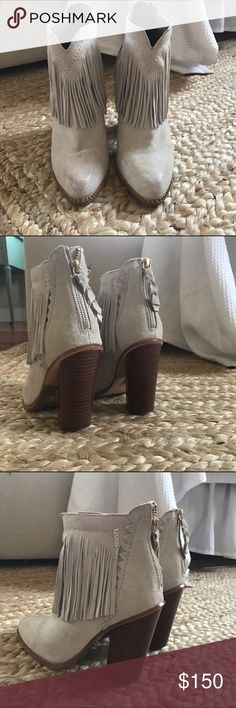 Cynthia Vincent Native Suede Fringe Boots Size 7. Worn a few times. 4 inch stacked heel. Winter white/grey color Cynthia Vincent Shoes Ankle Boots & Booties