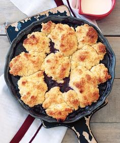 A topping of fluffy, buttery biscuits soaks up all the luscious juices from the sweet blueberries. Serve with a drizzle of heavy cream, or our personal favorite—a scoop of vanilla ice cream.