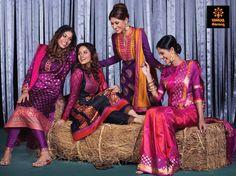 Katan Indulgence  Left: Katan inspired silk kameez with muslin dupatta  Middle Left: Joysree silk printed kameez with erri embroidered yolk…