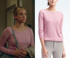 fbc23a365bca 2x05 Betty Cooper (Lili Reinhart) wears this pink seamed boatneck sweater  in this episode