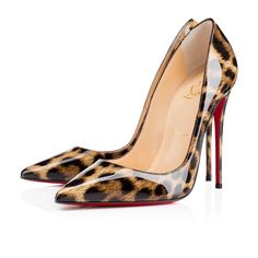 """""""So Kate's"""" pointed toe and superfine stiletto heel give it an eye-catching allure.  The dramatic pitch provides you with a supremely sexy 120mm silhouette.  In ultra chic """"Patent Leopardino,"""" it will become your favourite sky high pump this season."""