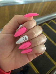 Pink and white lovely nails - ChicLadies. Edgy Nails, Grunge Nails, Funky Nails, Trendy Nails, Stylish Nails, Halloween Acrylic Nails, Fall Acrylic Nails, Checkered Nails, Hello Kitty Nails