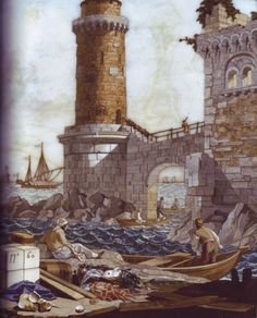 Detail of part of a pietre dure panel with a view of the Port of Livorno, after a design by Giuseppe Zocchi, Florence, 1750s.