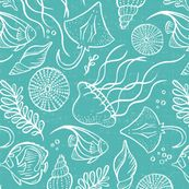 Sea Life - Aqua White Outline custom fabric by heatherdutton for sale on Spoonflower Real Sea Monsters, Steller's Sea Cow, Green Watercolor, Spoonflower Fabric, Color Lines, Sea Creatures, Under The Sea, Beautiful Creatures, Surface Design
