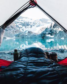 Camping at Wedgemount Lake in British Columbia, Canada.