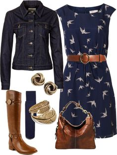 "swap jean jacket for cardigan ""Fall Swallow Dress"" by vintagesparkles78 ❤ liked on Polyvore"