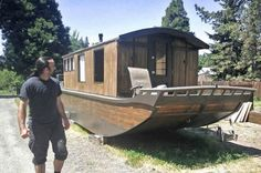 Shantyboat Tiny House  Love the interior. Still under construction but such a nice feel to it.