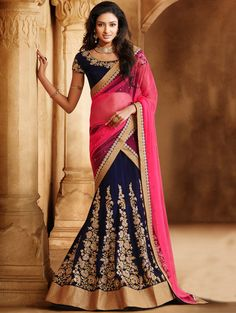Pink And Navy Blue Net Lehenga Saree With Embroidery And Handwork www.saree.com