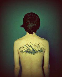 love the idea of a mountain back tattoo. perfect!