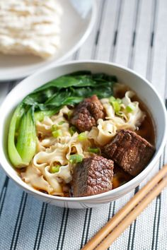 Taiwanese Beef Noodle Soup With Beef Brisket Peanut Oil Green Onions Ginger Garlic Cloves Bean Paste Hot Bean Paste Soy Sauce Water Chinese Cooking Wine Sugar Star Anise. Chinese Cooking Wine, Asian Cooking, Soup Recipes, Beef Recipes, Cooking Recipes, Easy Recipes, Cooking Food, Asia Food, Taiwanese Cuisine