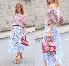 Get this look: http://lb.nu/look/8278333  More looks by Mayo Wo: http://lb.nu/mayowo  Items in this look:  Front Row Shop Off Shoulder Top, Self Portrait Lace Skirt, Gucci Floral Bag   #chic #retro #romantic