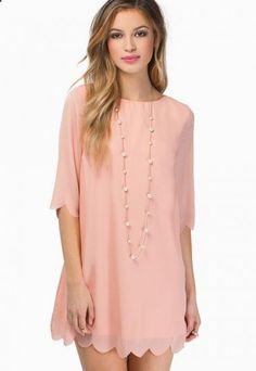 Pink Half Sleeve Scallop Hem Chiffon Shift Dress pictures