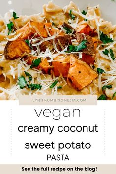 Sweet potato is such an underrated ingredient! You can both make a recipe sweet and savoury. This Vegan Creamy Coconut Sweet Potato Pasta is fully vegan and plant based! Perfect dinner to make for beginners with just a few simple ingredients. Check out the full recipe on my blog! #veganpasta #veganrecipe #easyveganrecipes #coconutmilkrecipe #sweetpotatorecipe Quick Vegetarian Meals, Vegan Recipes Beginner, Cooking Recipes For Dinner, Delicious Dinner Recipes, Sweet Potato Pasta, Frugal Meals, Frugal Recipes, Potato Dishes, Everyday Food