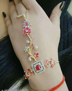 American Diamond Bracelet by Trendys shop - Online shopping for Bangles & Bracelets on MyShopPrime - Hand Jewelry, Cute Jewelry, Jewlery, Diamond Bracelets, Diamond Jewelry, Gold Fashion, Fashion Jewelry, Bridal Jewelry Vintage, Bridal Jewellery