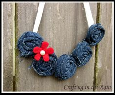 Crafting in the Rain: Denim Rosette Necklace