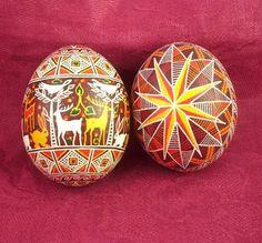 Ukrainian Easter Egg Pysanky Set of 2 Handpainted Eggs Old Traditions Folk Art | eBay