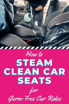 When you're buying a car, no one tells you how hard it can be to keep it clean. Let's make it easier on you by showing you our simple method for steam cleaning car seats. Steam Cleaning, Toilet Cleaning, Green Cleaning, Car Cleaning, Spring Cleaning, Cleaning Hacks, Cleaning Solutions, Car Organisation Ideas, Organization