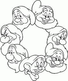 Les 7 nains : Timide, Joyeux, Dormeur, Atchoum, Simplet, Prof et Grincheux.