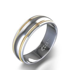 Dual Two Tone Wedding Band in 14k White & Yellow Gold