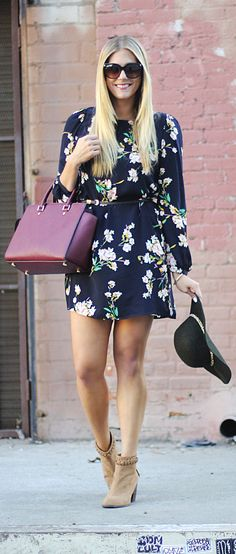 Devon Rachel in our Herbaceous Babe Navy Floral Print Shift Dress