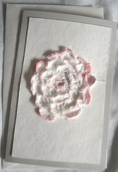 Cottage Chic Rose Card Handmade Paper Flower by ThresholdPaperArt