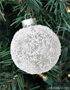 Epsom salt frosted glass Christmas ornament
